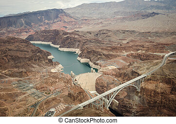 Hoover Dam taken from helicopter near las vegas 2013...