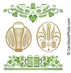 Hop and beer - Vector set - decorative stylized hop and beer