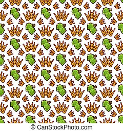 Hop and wreath pattern design. Beer, harvest, agricultural seamless texture