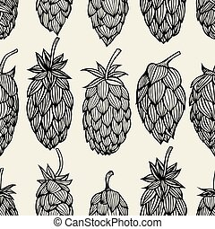 Hop beer seamless pattern