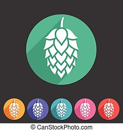 Hop beer sign icon flat web symbol logo label