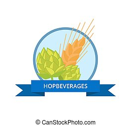 Hop Beverages Logo Golden Wheat Vector Isolated