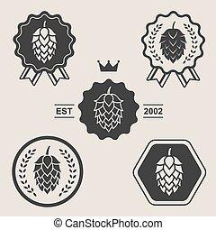 Hop craft beer sign symbol label element set