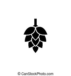 Hop. Flat Vector Icon. Simple black symbol on white background