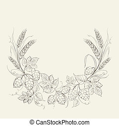 Hop garland on a white background. illustration.