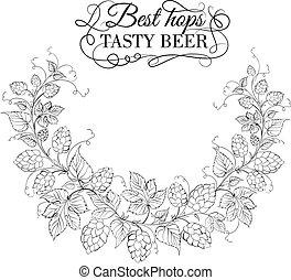 Hop garland on a white background. Vector illustration.