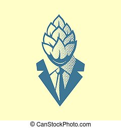 Hop Head Pop Art Style Label, Logo or Illustration. Man in a Suit and Tie with a Hop Face. Creative Concept Emblem.