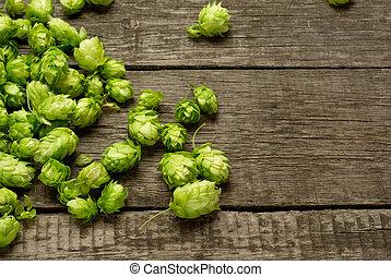 hop, houten, fris, groen tafel