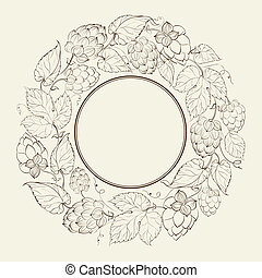 hop, monochroom, cirkel, fruit