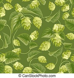 Hop - Seamless pattern with green hops and leaves. Vector...