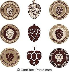 Set of Hop craft beer sign symbol label element. Label, emblem or badge template. Vector illustration.