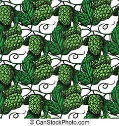 Hop vector seamless pattern. Hand drawn artistic beer green hope