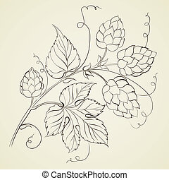 Hop with leafs isolated. - Hop with leafs isolated on biege....