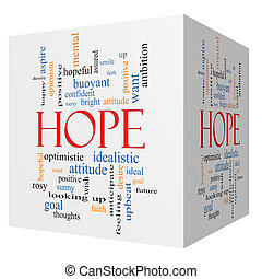 Hope 3D cube Word Cloud Concept