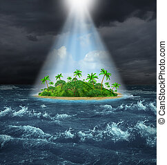 Hope and aspirations success concept with a dark storm ocean background contrasted with a glowing light from above shinning down on a beautiful tropical island as an oasis vision of the promised land.
