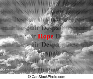 Hope and Despair - Closeup detail of black and white words ...