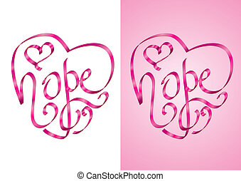 Hope - Breast cancer awareness - Hope - Heart shape...