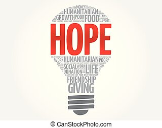 HOPE bulb word cloud