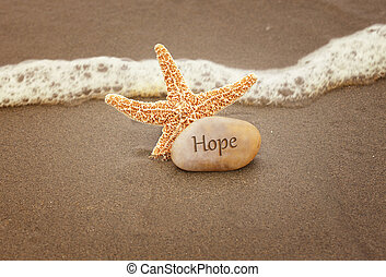 Calming image of hope. Starfish and a rock by the ocean waves