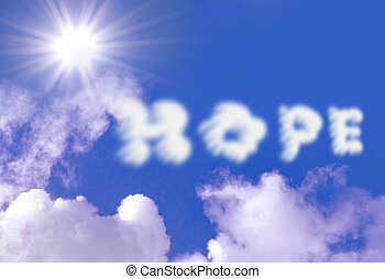 Hope clouds against a blue sky with sun rays