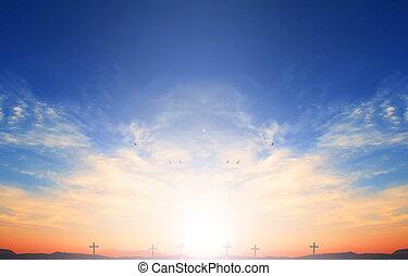 Hope concept: cross of Christ Jesus on sunset sky background