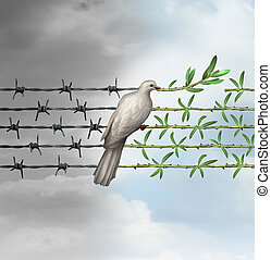 Hope Concept - Hope concept as a dove perched on barbed wire...
