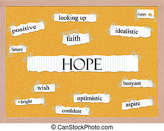 Hope Corkboard Word Concept with great terms such as happy,...