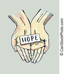 Hope d - Hand drawn vector illustration or drawing of a pair...