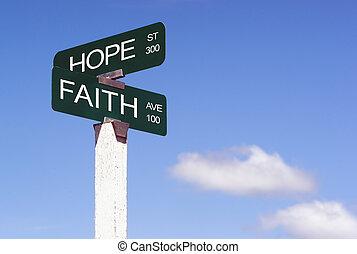Hope Faith Emotion Idea Signs Crossraods Street Avenue Sign