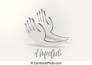 Hope hands, charity giving vector logo
