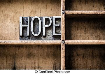 Hope Letterpress Type in Drawer
