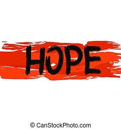 Hope. Minimalist design background Flag Of Belarus handwritten with brush. Vector