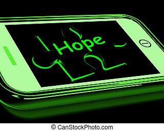 Hope On Smartphone Showing Prays