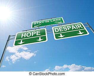 Hope or despair concept. - Illustration depicting a highway...