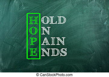hope pain - Acronym of Hope written  on green chalkboard