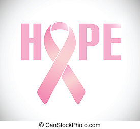 hope sign and pink cancer ribbon illustration