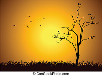 Stock illustration of a tree silhouette