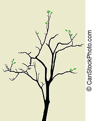 Hope - Stock vector of a tree with a couple of leaves on it