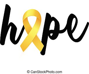 Hope text with Realistic golden Ribbon card to Childhood Cancer Awareness Month.