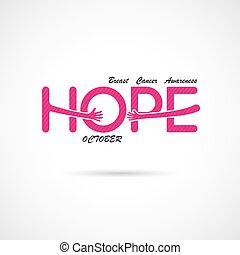 """Hope"" typographical.Hope word icon. Cancer October..."