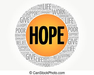 HOPE word cloud collage