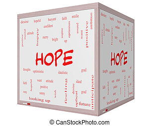 Hope Word Cloud Concept on a 3D cube Whiteboard