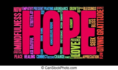 Hope Word Cloud - Hope word cloud on a white background.