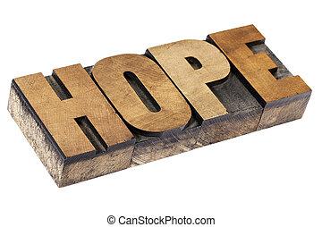 hope word in wood type