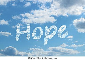 Hope word on cloud