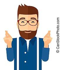 Hopeful hipster man with the beard. - Hopeful hipster man...