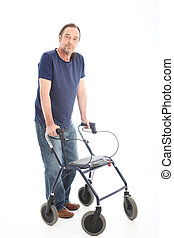 Hopeful positive man with health walker