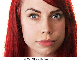 Hopeful Young Woman in Red Hair