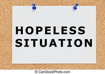 Render illustration of Hopeless Situation script on cork board