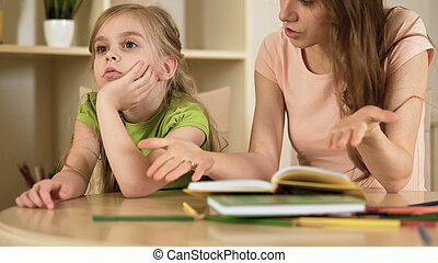 hopelessly, γυναίκα , κόρη , μικρός , αγνοώ , κορίτσι , μητέρα , άτακτος , διδασκαλία , ενόχλησα